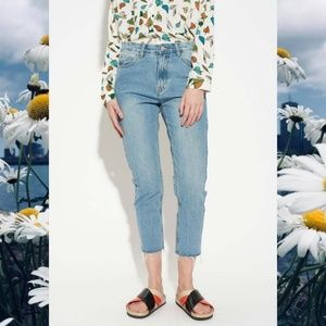 Nasty Gal Light Blue Cropped Raw Hem Mom Jeans
